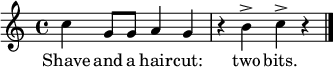 \relative c'' { \time 4/4 \key c \major  c4 g8 g a4 g r b^> c^> r \bar "